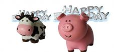 Pig Resin Topper with Happy Birthday Motto